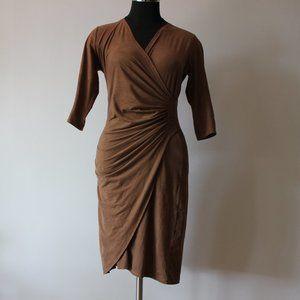 Revd'elle Paris Faux Suede Brown Dress